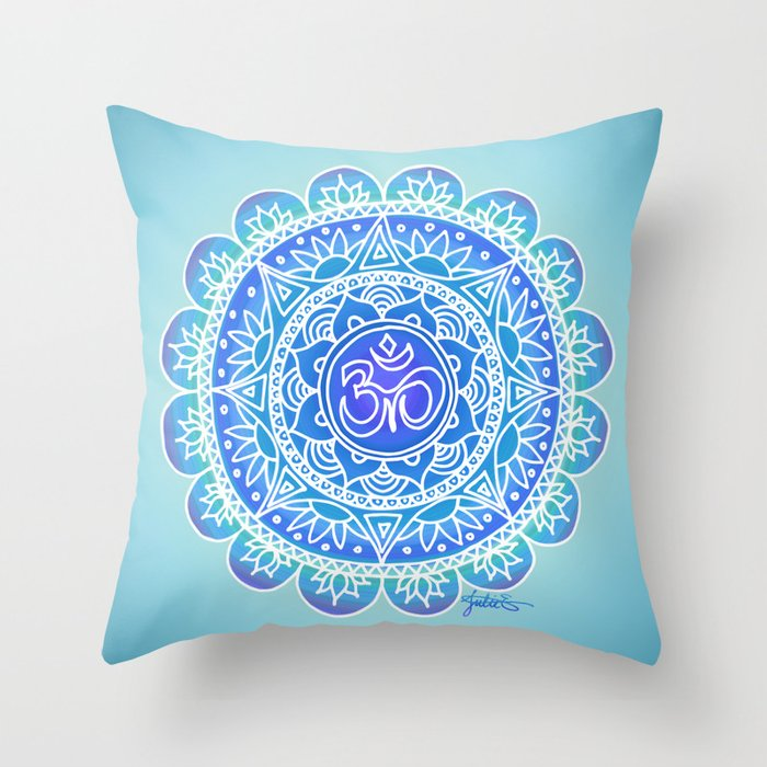shades of blue ohm mandala throw pillow home decor