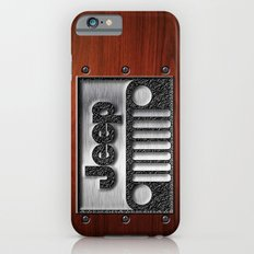 Embossed Steel Jeep logo with wood background iPhone 4 4s 5 5c 6, pillow case, mugs and tshirt iPhone 6 Slim Case