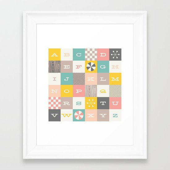 Block Alphabet - in Carnation Framed Art Print