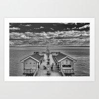 View Over The Pier Monochrome Art Print