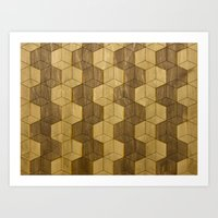 Wooden Zig Zag Optical C… Art Print