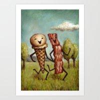 Bacon Loves Ice Cream Art Print
