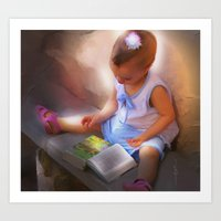 Baby Reads Bible Art Print