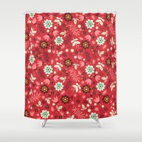 Fresh Blossoms (Reds) Shower Curtain