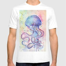 Jellyfish Watercolor Mens Fitted Tee SMALL White