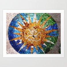 Barcelona, Spain. Parque Guell Mosaic. Art Print