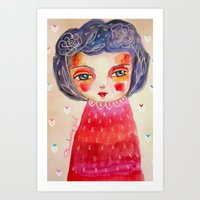 Strawberry Girl Art Print