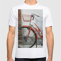 Red bicycle Mens Fitted Tee Ash Grey SMALL