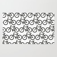 Bicycle Stamp Pattern - Black and White - Fixie Fixed Gear Bike Rug
