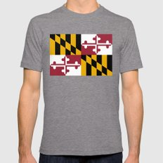 State flag of Maryland, Authentic version Mens Fitted Tee Tri-Grey SMALL