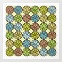 Retro spirals Art Print
