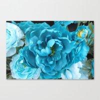 Aqua Blue Floral Abstrac… Canvas Print