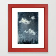 Framed Art Print featuring The Cloud Stealers by HappyMelvin