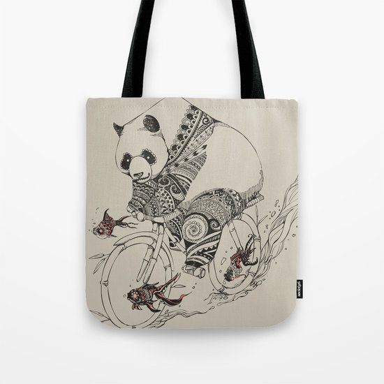 Panda and Follow Fish Tote Bag