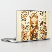 autumn Laptop & iPad Skins featuring The Queen of Pentacles by Teagan White