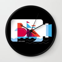 Postcards from Amsterdam / Bottle Ship Wall Clock
