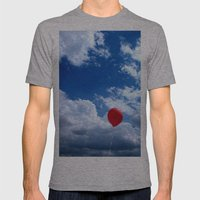 Red on Blue Mens Fitted Tee Athletic Grey SMALL