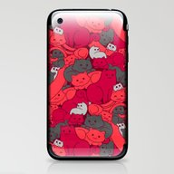 Purrrfect Pattern (Red) iPhone & iPod Skin