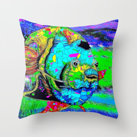 Angel Fish Swimming Through The Sea Throw Pillow