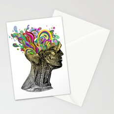 Bright neon pink yellow abstract anatomical skull Stationery Cards