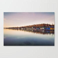 Dawn at the lake Canvas Print