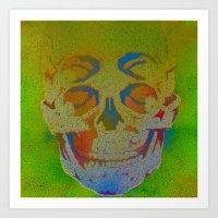 4i skull stencil art - white Art Print