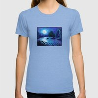 .:Kiss The Girl:. Womens Fitted Tee Tri-Blue SMALL
