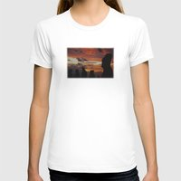 Sunset Silhouettes Womens Fitted Tee White SMALL