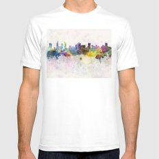 Ho Chi Minh skyline in watercolor background SMALL White Mens Fitted Tee