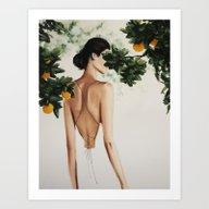 Woman In Orange Tree Art Print