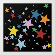 Multi Stars Black Canvas Print