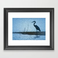 Great Blue Heron Fishing Framed Art Print