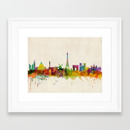 Paris Skyline Watercolor Framed Art Print