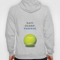 Eat. Sleep. Tennis. (White with Blue) Hoody