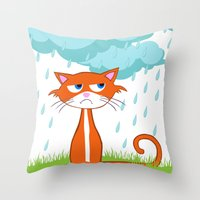 I Hate Mondays When It Rains Throw Pillow