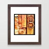 Lion door. Framed Art Print