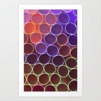 FLUO CIRCLES Art Print
