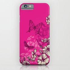 Vintage butterfly wallpaper- magenta iPhone 6 Slim Case