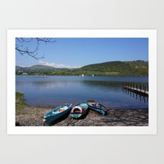 The Lake District - Boating on the Lake Art Print