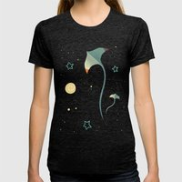 Space Ray Womens Fitted Tee Tri-Black SMALL