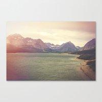 Retro Mountain Lake Canvas Print