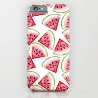 iPhone Cases featuring Watermelon pattern by Julia Badeeva