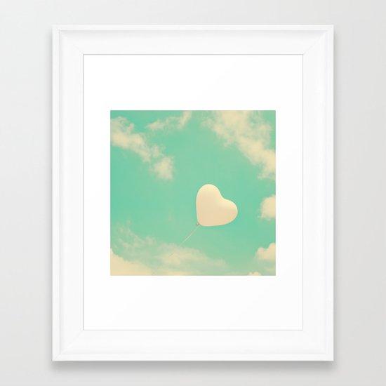 Sweet Love, Retro Heart Balloon in Green-Turquoise sky  Framed Art Print