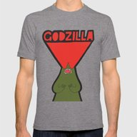 Godzilla Mens Fitted Tee Tri-Grey SMALL