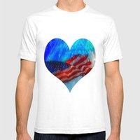 U.S.A. Mens Fitted Tee White SMALL