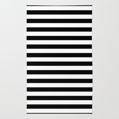 Modern Black White Stripes Monochrome Pattern Rug