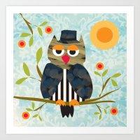 Patchwork Owl blue Art Print