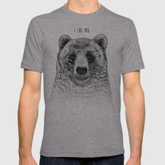 I Like You (Bear) Mens Fitted Tee Tri-Grey SMALL