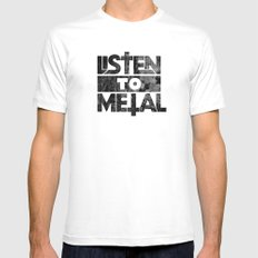 Listen to Metal MEDIUM Mens Fitted Tee White