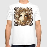 Steampunk Girl Portrait  Mens Fitted Tee White SMALL